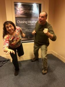 Caryn and Stephen being chased by weather