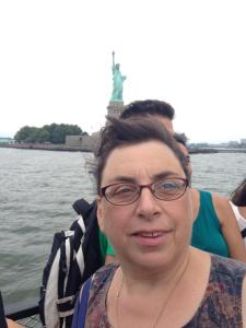 My hair saluting the Statue of Liberty on the way to Ellis Island