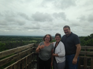 Two of Jerry's sisters and one marvelous brother-in-law o top of the world, or at least Wells Overlook near our place to see the aerial view Jerry loved.